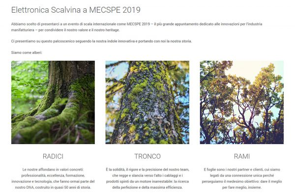 elettronica scalvina landing page mecspe 2019 siamo come alberi